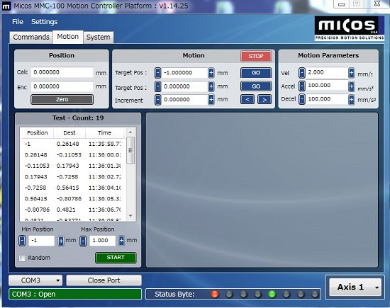 ピエゾコントロール ソフトウエア画面