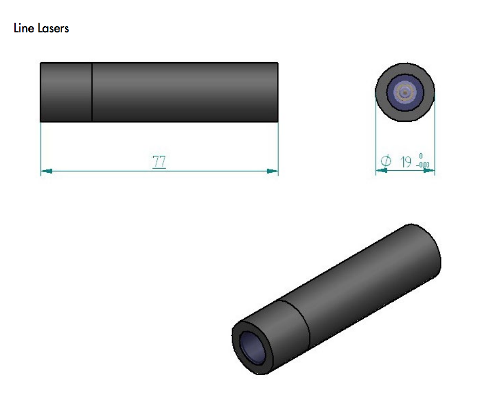 bule laser module size